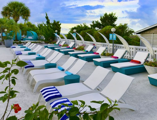Poolside lounging areas